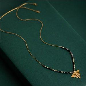 Charm Necklace Leaf 14k Gold Howlite
